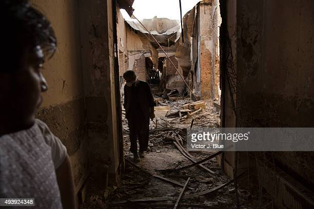 MSF workers survey on October 14 in Kunduz Afghanistan the aftermath of the US airstrike on the Medecins Sans Frontieres hospital in Kunduz that took...