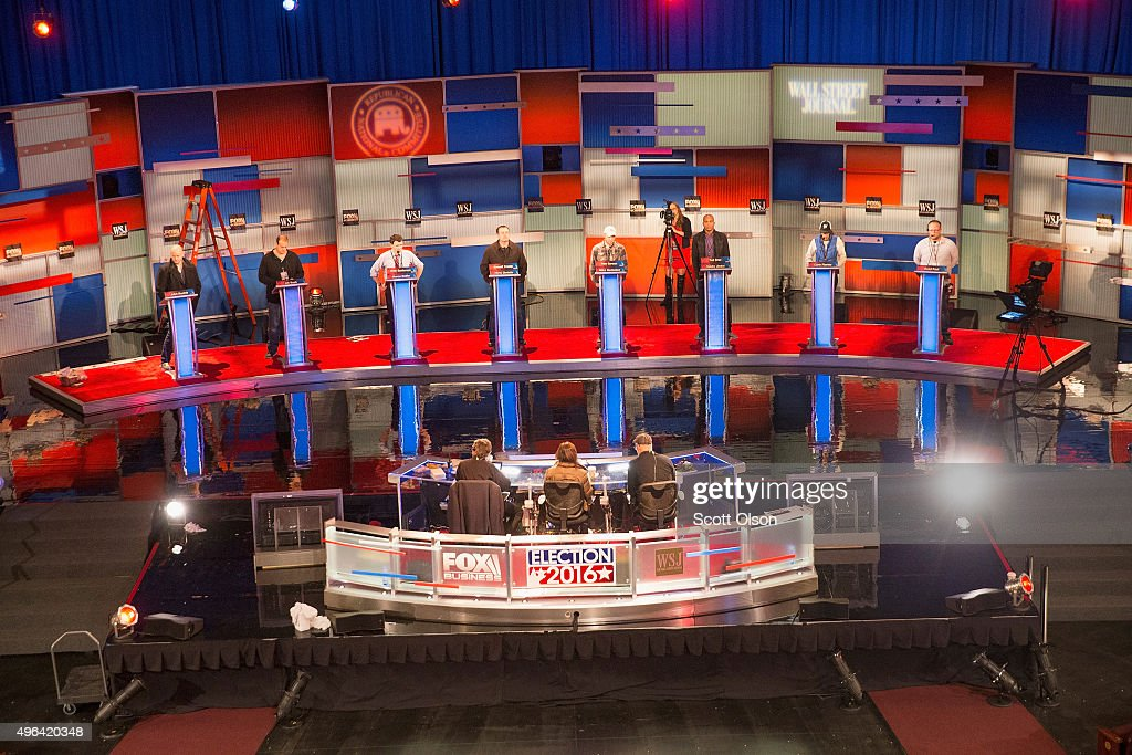 Workers test the setup at the Milwaukee Theater for the Republican presidential debate sponsored by Fox Business News and the Wall Street Journal on...