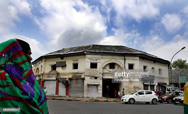 Workers vacate and clean the Gole Market for its redevelopment plan at Connaught Place on September 23 2015 in New Delhi India The iconic Gole Market...