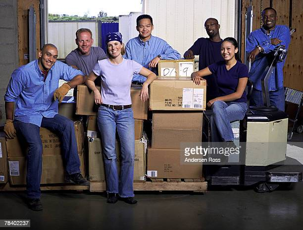 Workers with boxes
