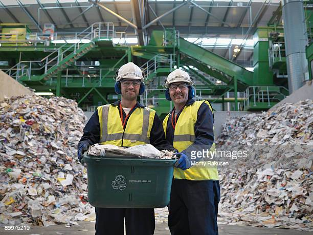 Workers With Waste Recycling Box