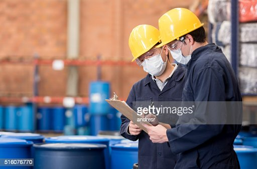 Workers working at a chemical plant