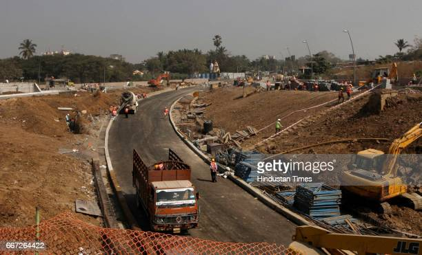 Workers working in Sahar Elevated road which is connected to T2 of International Airport in Mumbai India
