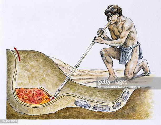 Working a furnace for melting copper drawing Batan Grande site Peru PreInca civilisation