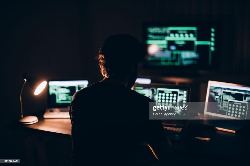 Working all night : Stock Photo