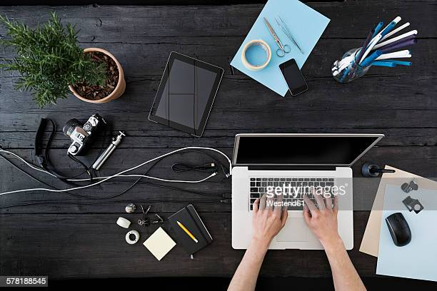 Working at home office with laptop