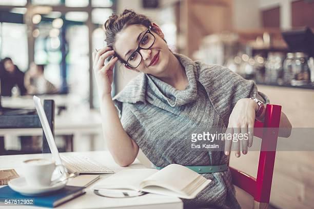 Working in a café