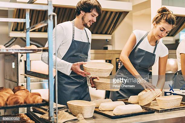 Working in the bakery