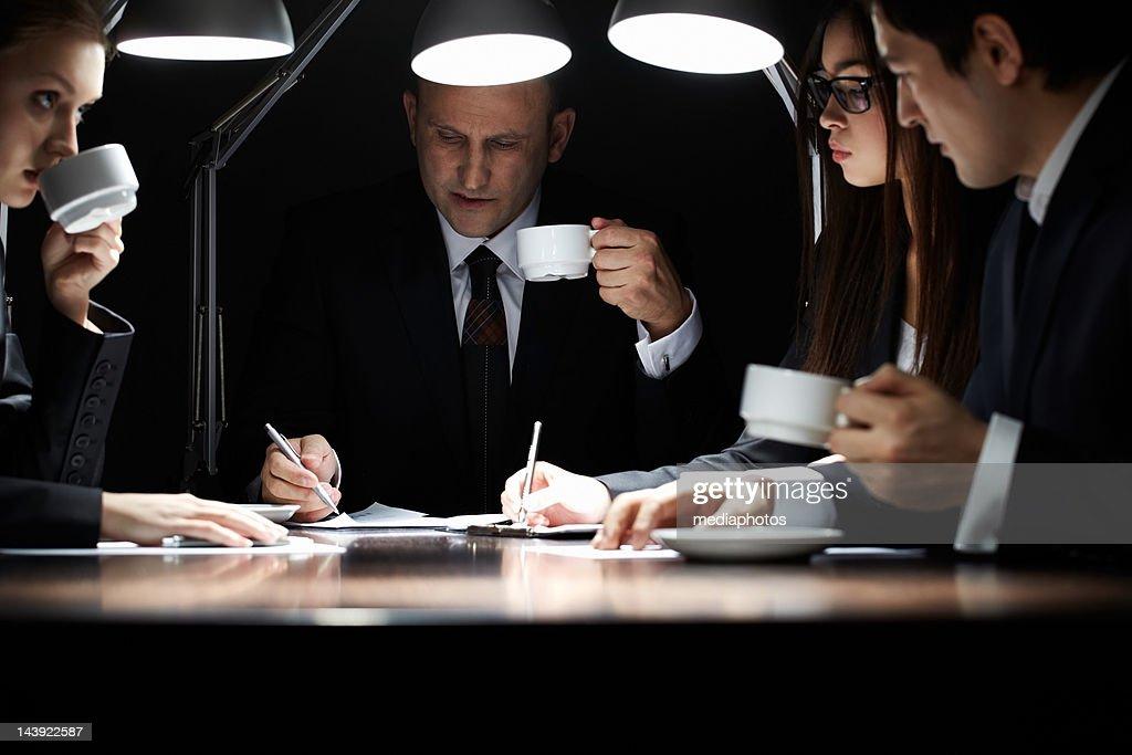 Working in the dark : Stock Photo