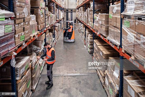 Working in the distribution warehouse