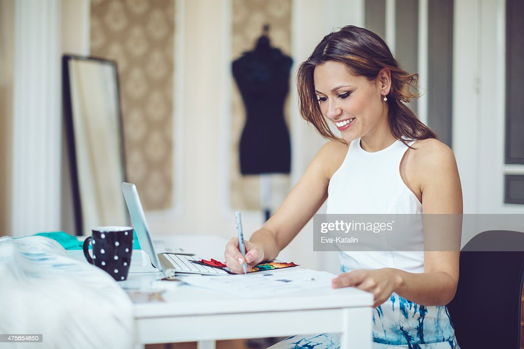 Working in the showroom : Stock Photo
