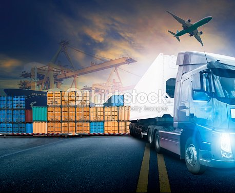 Working man and container truck ,ship in port and freight
