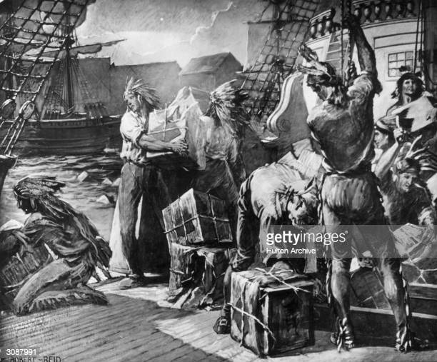 Working men disguised as Mohawks throw chests of tea into the harbour in protest against direct taxation by the British Original Artist Robert Reid