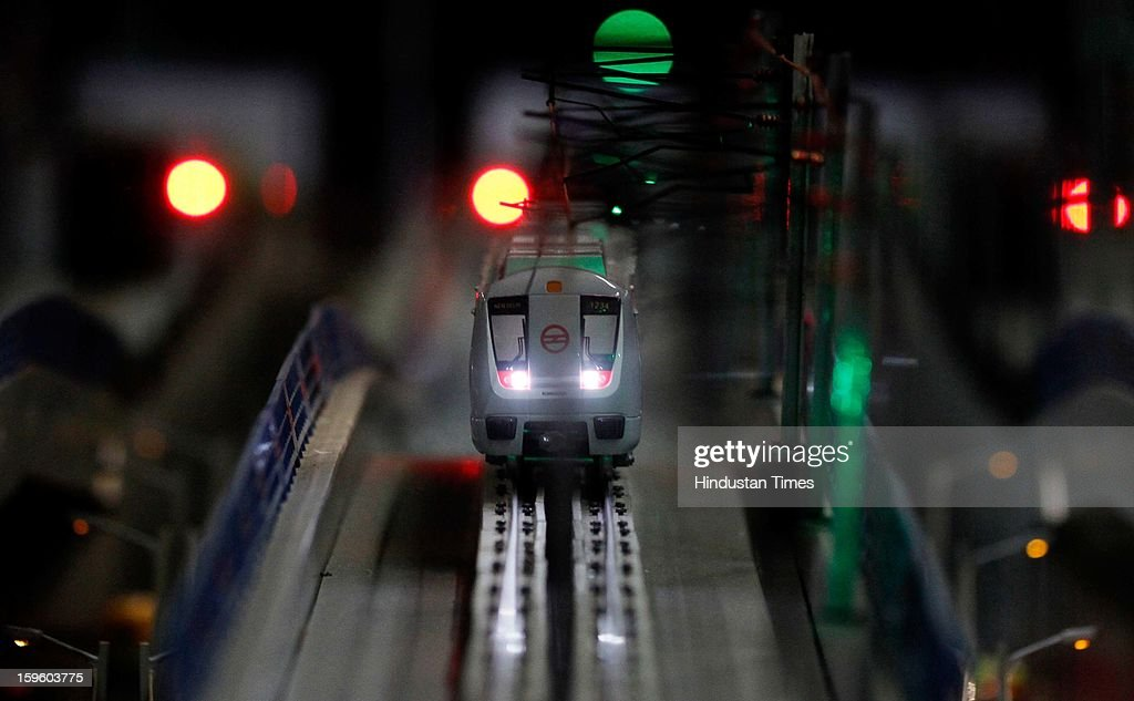 A working model of the Metro Train displaying its movements through underground, elevated and at grade corridors was unveiled at the Delhi Metro Museum at Patel Chowk Metro station by DMRC Managing Director Mangu Singh on January 17, 2013 in New Delhi, India.