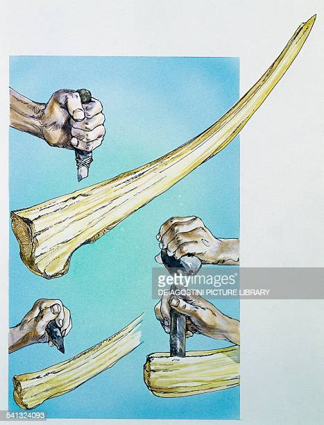 Working on a mammoth tusk drawing France Upper Paleolithic Magdalenian