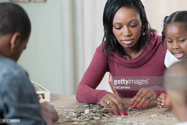 Working on a Puzzle as a Family