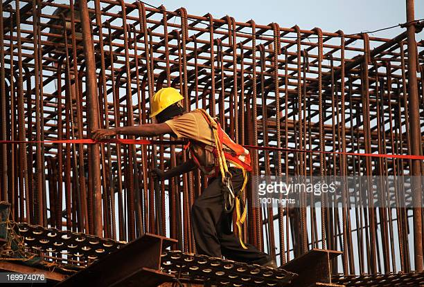 Working on a reinforcing bar structure