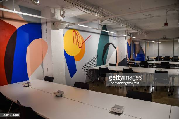 A working space inside the new Verizon's old datacenter that is converted into colorful coworking spaces for young professionals is seen on Friday...