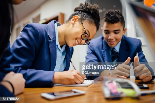 Working Together In Lesson : Stock Photo