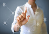 Businesswoman working with touch screen.