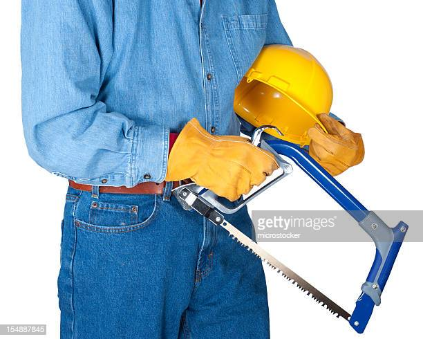 Workman Holding Saw and Hardhat, Torso Shot, Isolated on White