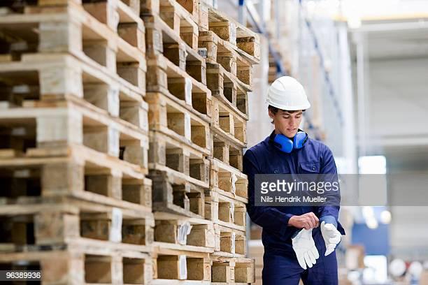 workman in storage