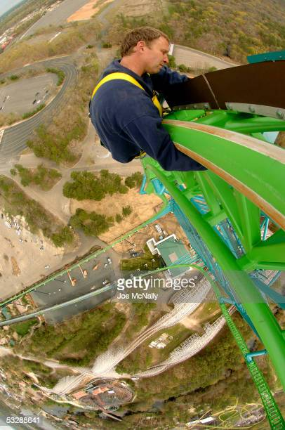 A workman makes last minute adjustments to Kingda Ka the world's tallest and fastest roller coaster which still awaits its first paying customers May...