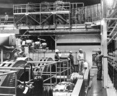 OCT 7 1961 Workmen Check the Controls in the Silo's Underground power House The generators produce the electrical force to launch the 110ton Titan...