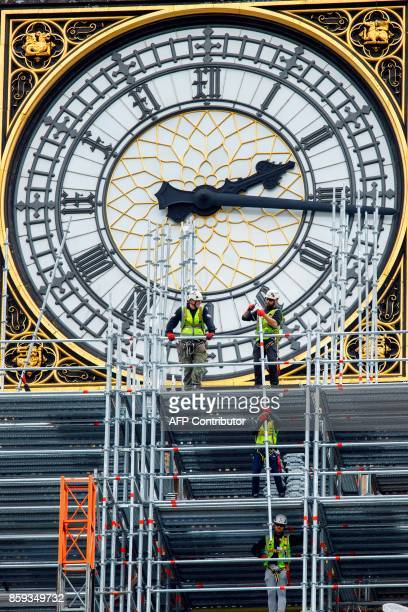 Workmen erect scaffolding around the Elizabeth Tower commonly known called Big Ben during ongoing renovations to the Tower and the Houses of...