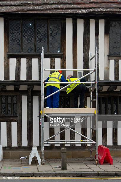 Workmen from the regeneration team work on the exterior of Shakespeare's Schoolroom Guildhall ahead of the 400th Anniversary of Shakespeare's death...
