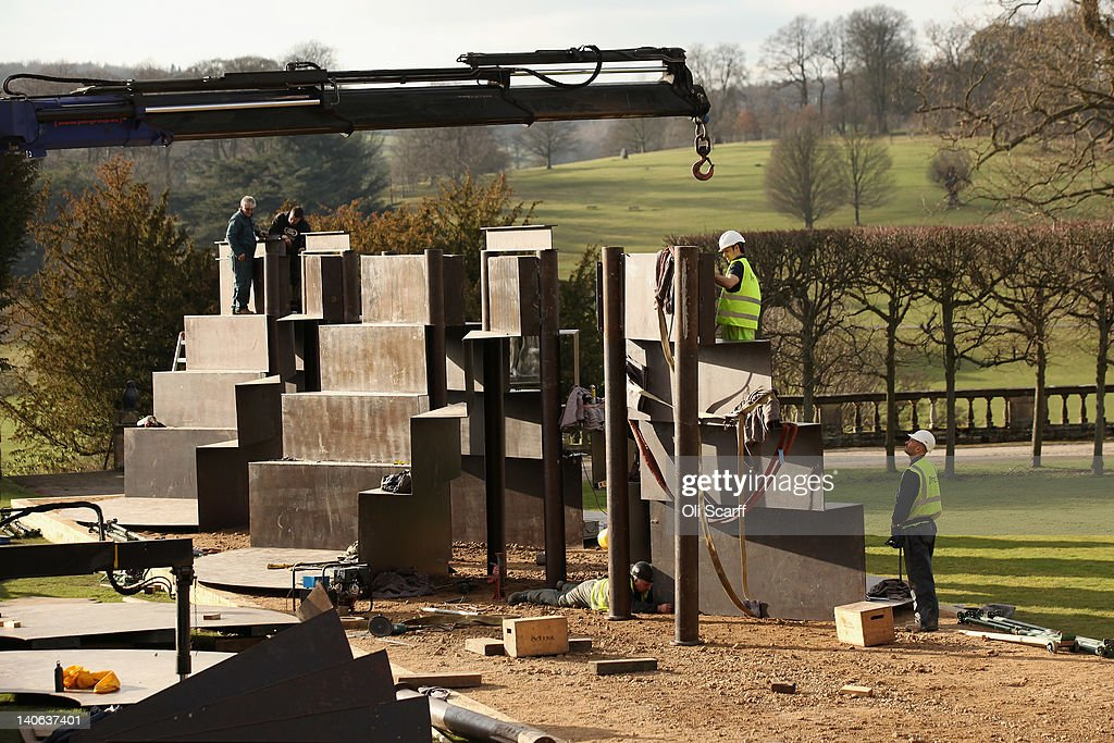 Goodwood Steps By Sir Anthony Caro Is Winched Into The Gardens At Chatsworth House Getty Images