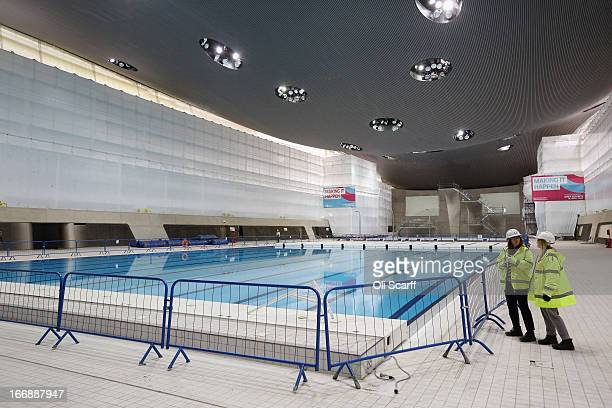 Workmen redevelop the Aquatics Centre which was used in the London 2012 Olympic Games prior to the opening of a portion of the park to the general...