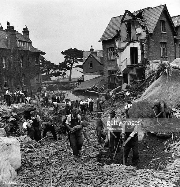 Workmen trying to clear the bed where the river once flowed after the Lynmouth flood 1952