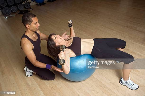 Workout with Exercise Ball and Trainer