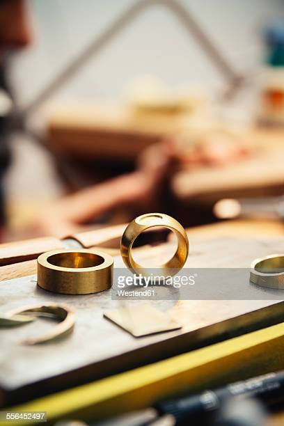 Workpieces and tools in workshop of a goldsmith