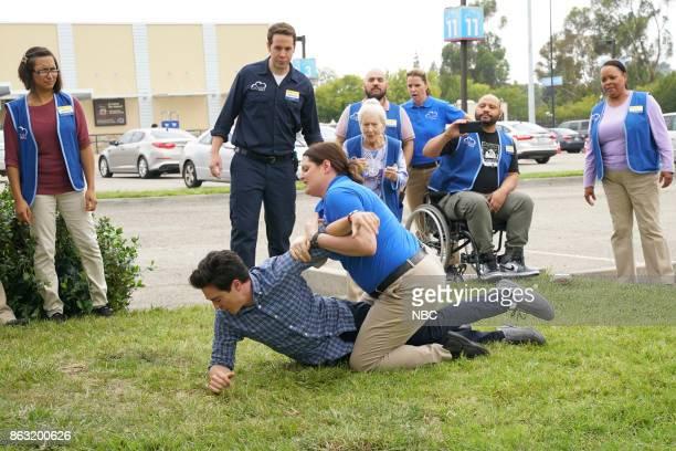 SUPERSTORE 'Workplace Bullying' Episode 304 Pictured Ben Feldman as Jonah Jon Barinholtz as Marcus Lauren Ash as Dina Linda Porter as Myrtle Colton...