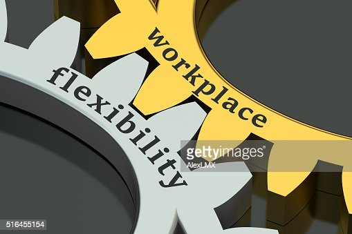 Workplace flexibility concept on the gearwheels : Stock Photo