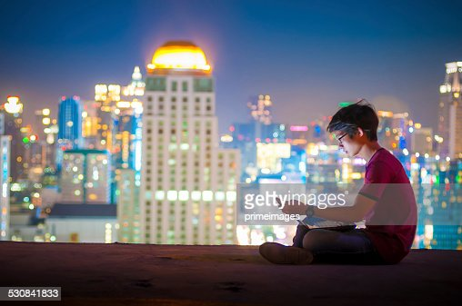 Workplace in the night city : Stockfoto