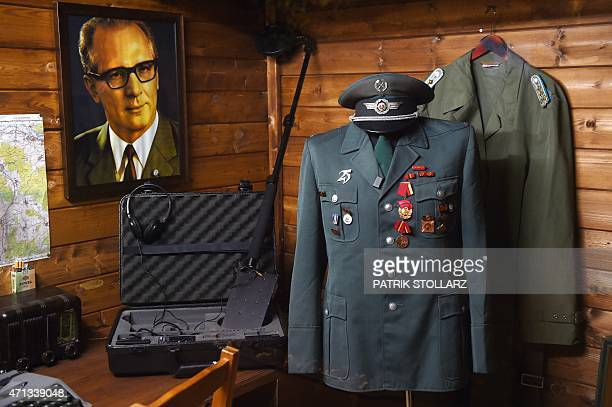 A workplace of an agent of the German Democratic Republik is pictured in the Spy Museum in the western German city of Oberhausen on April 21 2015 A...