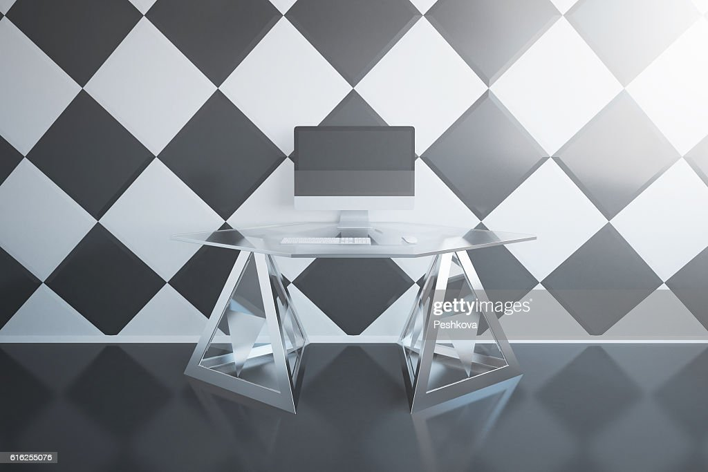 Workplace with empty pc : Foto de stock