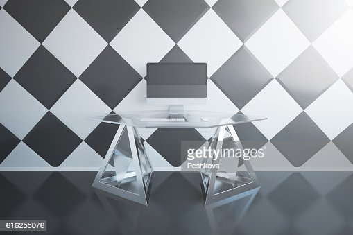 Workplace with empty pc : Stock Photo