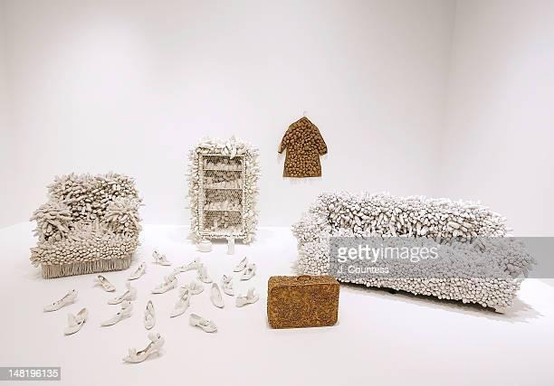 Works by Yayoi Kusama on display at the Yayoi Kusama Retrospective Exhibition Opening Reception at The Whitney Museum of American Art on July 11 2012...