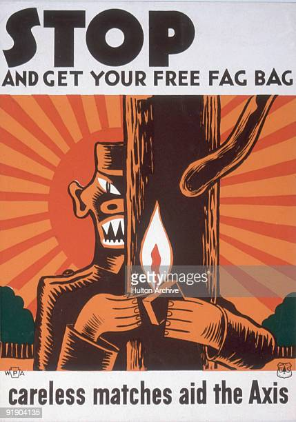 Works Progress Administration of Pennsylvania woodcut poster depects a stylized cartoon Japanese soldier as he lights a match around a tree as a...