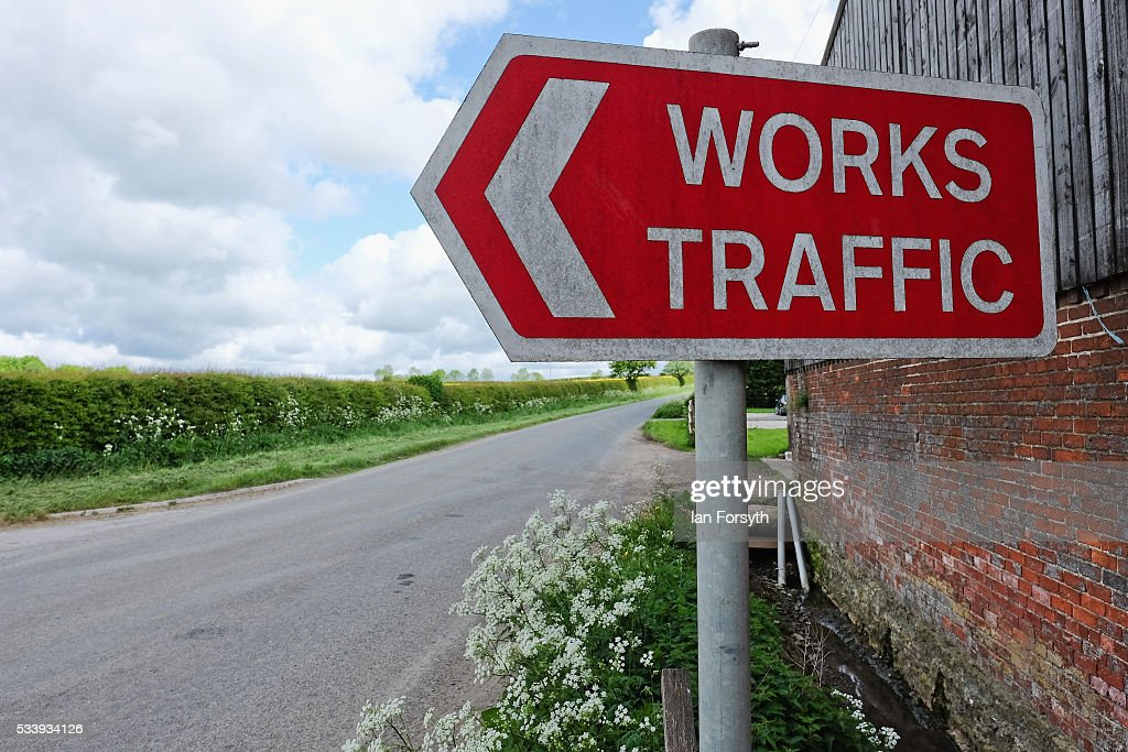 A works traffic sign near the entrance to the KM8 drill site near the village of Kirby Misperton on May 24, 2016 in Malton, England. North Yorkshire Planning and Regulatory Committee voted seven to four in favour of a planning application submitted by Third Energy to conduct fracking at the KM8 drilling site near the village. Hydraulic Fracturing, or fracking, is a technique designed to recover gas and oil from shale rock.