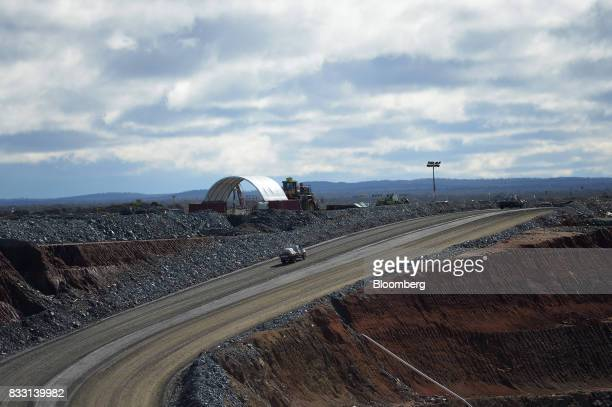 A workshop hangar sits at the top of an access ramp of the Invincible mine at the St Ives Gold Mine operated by Gold Fields Ltd in Kambalda Australia...