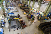 Workshop on production of handling removable devices. Machining department. View from the ceiling.
