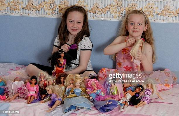 A workshop to create a dress for Barbie at Musee de la Poupee In Paris France On April 01 2009The sisters Maeva 6years old and Marianne 7years old in...