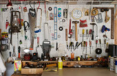 Workshop with tools on wall