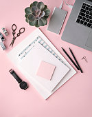 Flat lay composition in pink tones for  freelance blogger. Workspace with laptop, stylish notebook, black watch and succulent.