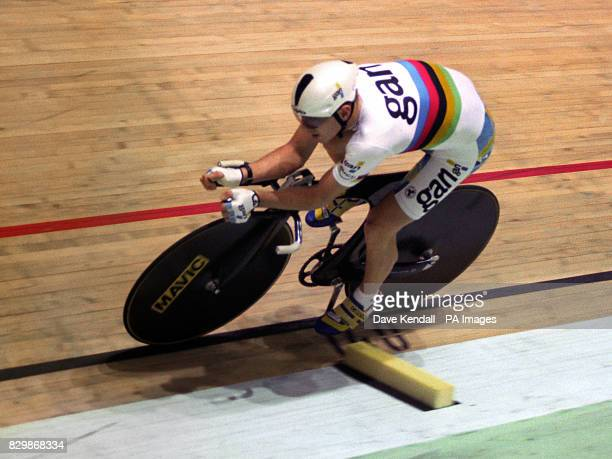 World and Olympic champion Chris Boardman of Great Britain on his way to victory in his race against Switzerland's Tony Rominger